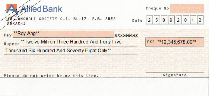 Printed Cheque of Allied Bank Pakistan