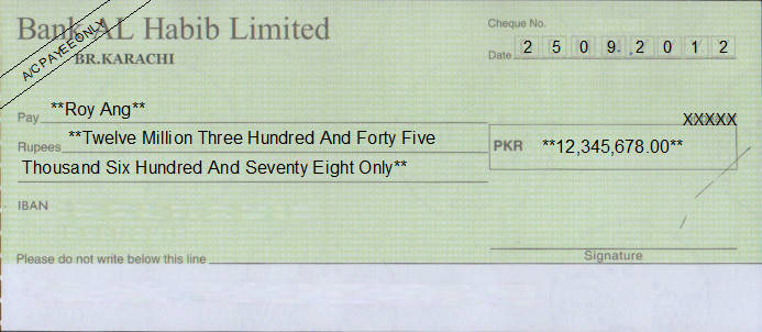 Printed Cheque of Bank AL Habib Limited Pakistan