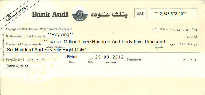 Printed Cheque of Bank Audi Lebanon