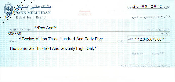 Printed Cheque of Bank Melli Iran in UAE