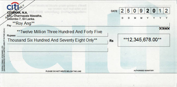 Printed Cheque of Citibank in Sri Lanka
