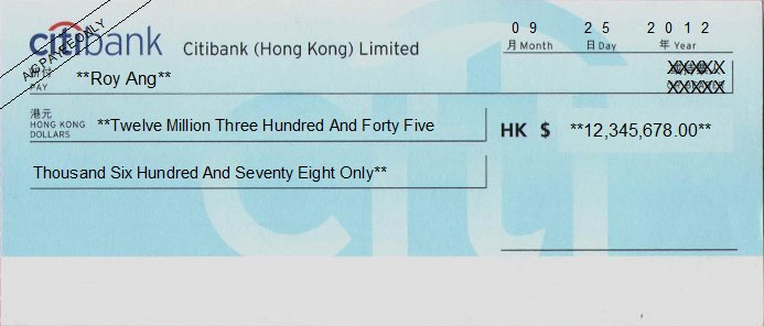 Printed Cheque of Citibank - Personal in Hong Kong (花旗銀行)