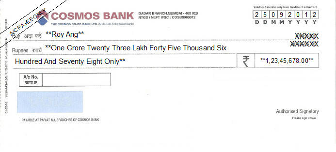 Printed Cheque of Cosmos Bank in India