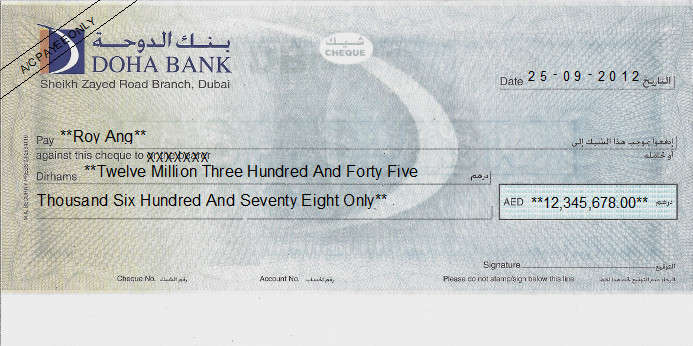 Printed Cheque of Doha Bank UAE