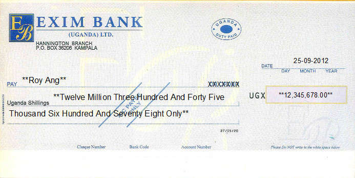 Printed Cheque of Exim Bank (UGX) in Uganda