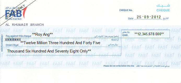 Printed Cheque of First Abu Dhabi Bank (FAB) in Oman