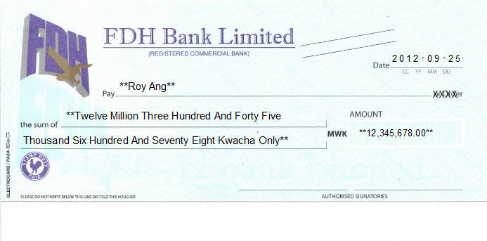 Printed Cheque of FDH Bank in Malawi