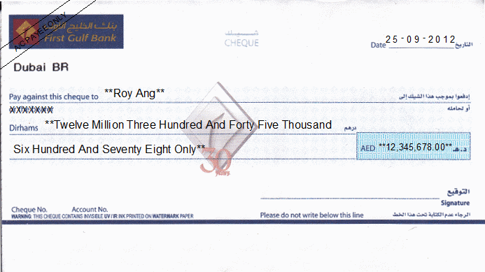 Printed Cheque of First Gulf Bank (Personal) UAE
