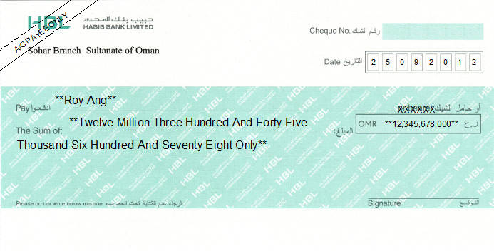 Printed Cheque of Habib Bank Limited (HBL) in Oman