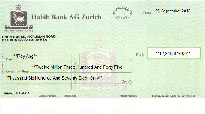 Printed Cheque of Habib Bank AG Zurich in Kenya