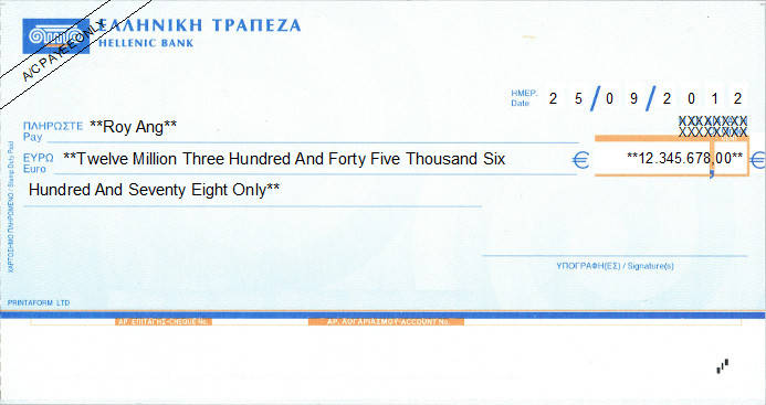 Printed Cheque of Hellenic Bank in Cyprus
