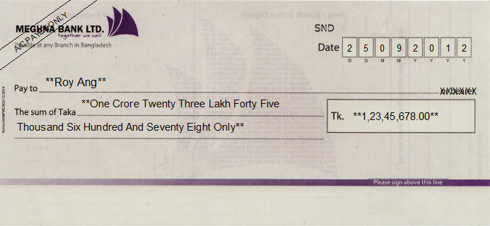 Printed Cheque of Meghna Bank in Bangladesh
