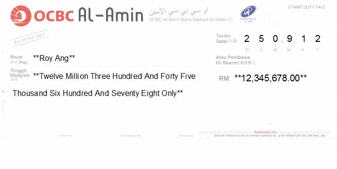 Printed Cheque of OCBC Al-Amin in Malaysia
