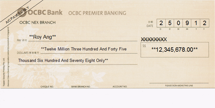 Printed Cheque of OCBC Premier Banking of Singapore