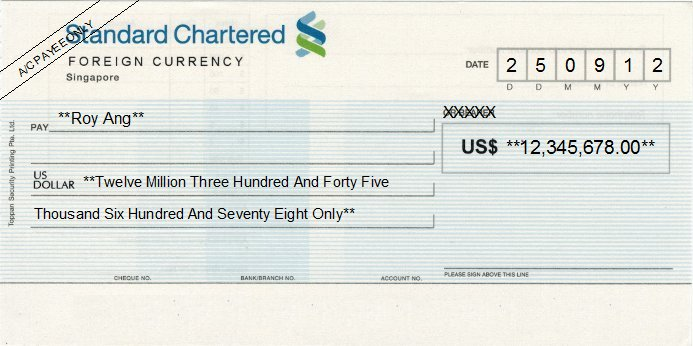 Printed Cheque of Standard Chartered Bank (Foreign Currency) Singapore