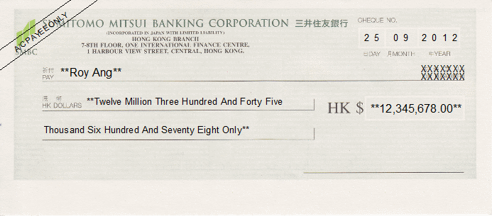 Printed Cheque of Sumitomo Mitsui Banking Corporation Hong Kong (三井住友銀行)