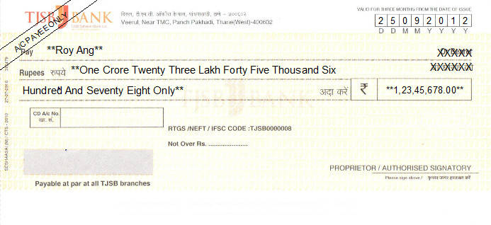 Printed Cheque of TJSB Sahakari Bank in India
