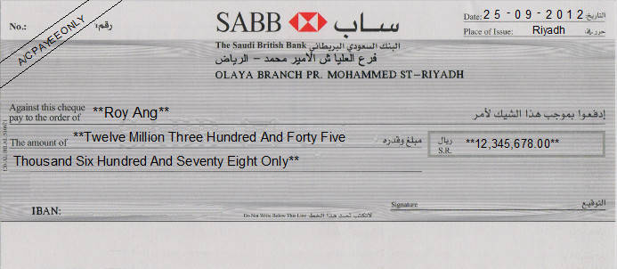 Printed Cheque of The Saudi British Bank (SABB) Saudi Arabia