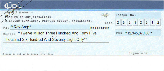 Printed Cheque of UBL (United Bank) Pakistan